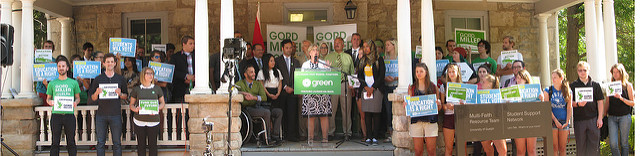 WRGreens Richard Walsh (Waterloo), Bob Jonkman (Kitchener-Conestoga) and Michele Braniff (Cambridge) were among the many Green Party Candidates who joined Elizabeth May as she announced the Education portion of the Green Party of Canada's platform at the University of Guelph.