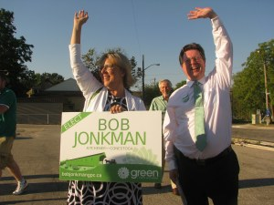 Elizabeth May joined Bob Jonkman and Richard Walsh for street side sign waving last fall