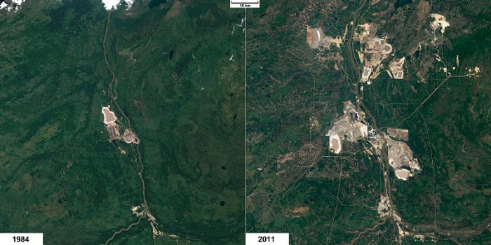 NASA: Athabasca tar sands environmental impact 1984 vs 2011