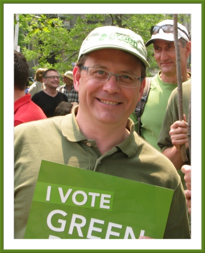 Mike Schreiner at the Jobs Justice Climate March in Toronto, 2015