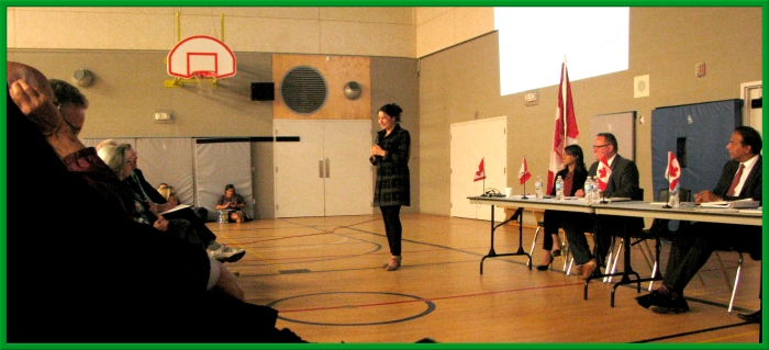 the Hon. Maryam Monsef, Minister of Democratic Institutions speaks to a packed house in Waterloo Region, Wednesday Night.