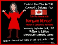 Federal Electoral Reform Community Dialogue Tour ~ Waterloo Region online